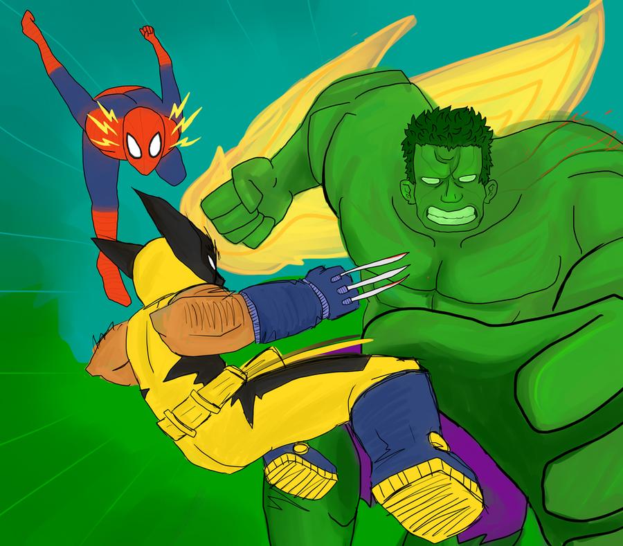 Hulk VS Wolverine VS Spiderman by VexNet