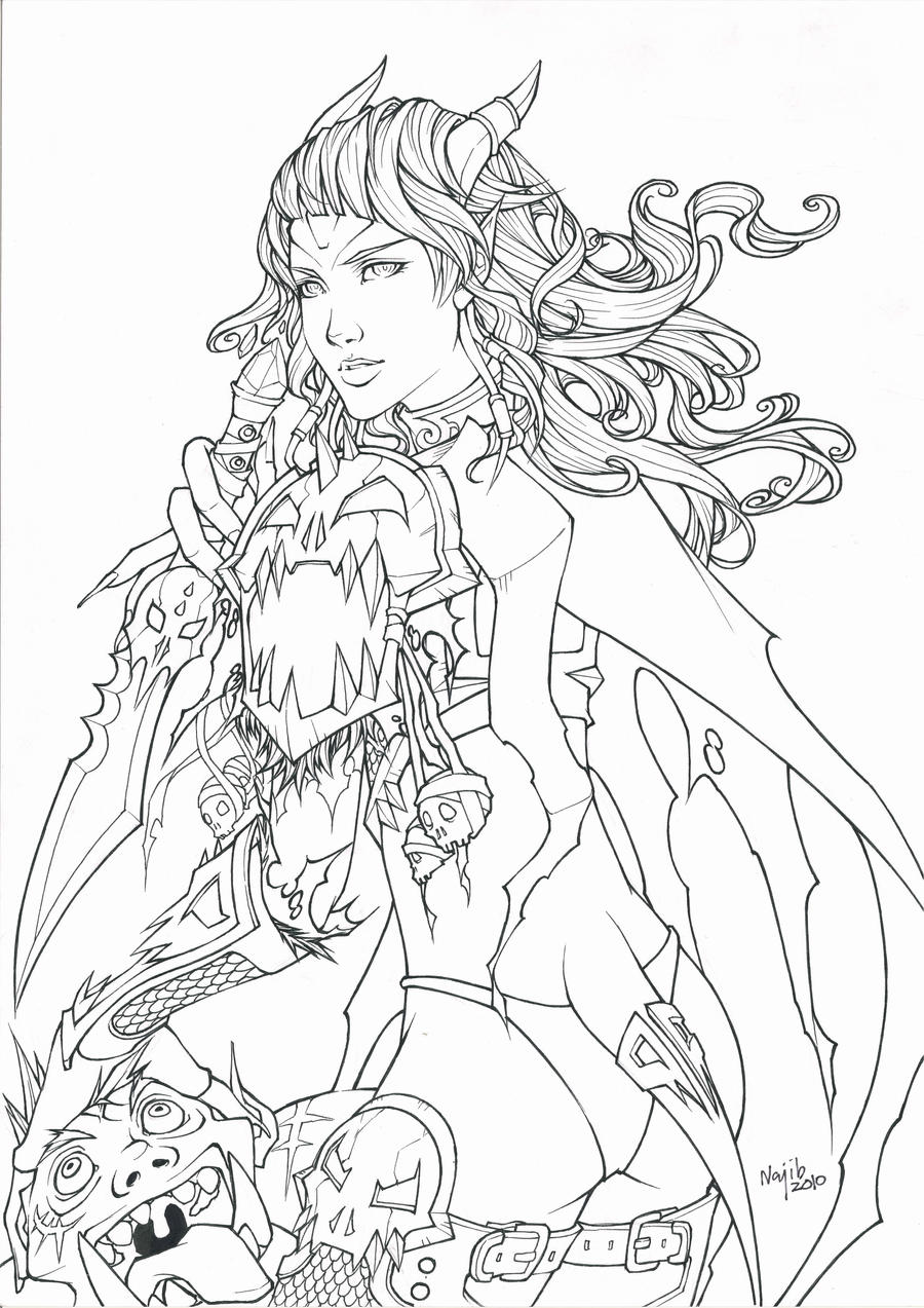 warcraft coloring pages - draenei lineart by guibb on deviantart