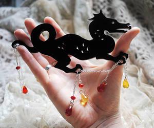 Noir Dragon Laser Cut Necklace by nellmckellar