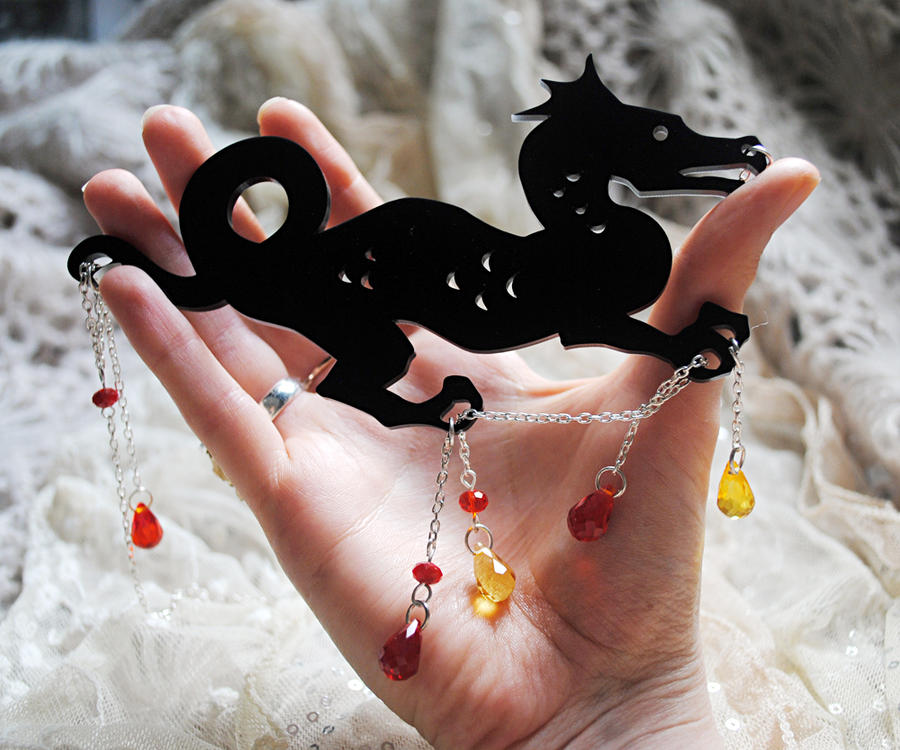 Noir Dragon Laser Cut Necklace by nellmckellar