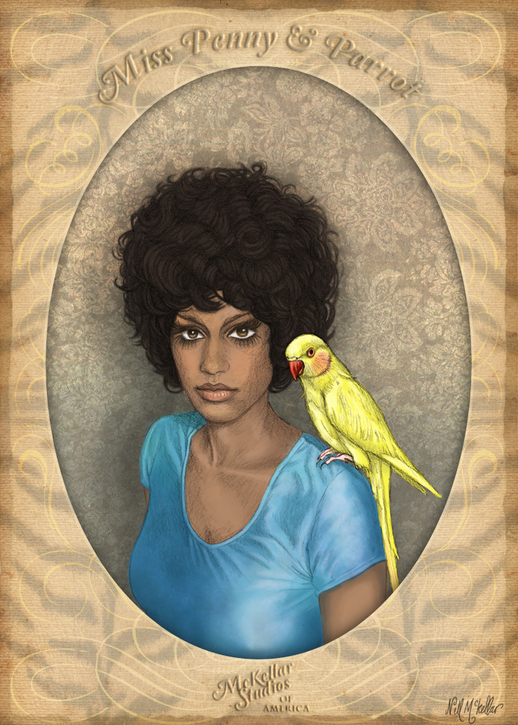Miss Penny and Parrot by nellmckellar