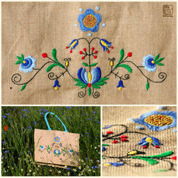 Kashubian embroidery jute bag by PsiMonkey