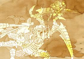 Fan Art 40K Assault Marine attacking Carnifex by solterbeck65