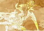 Fan Art 40K Assault Marine attacking Carnifex