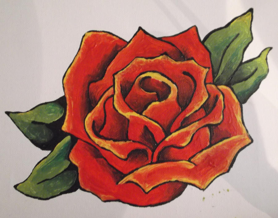 Red rose painting by bosshossbones on deviantart for Easy way to paint a rose