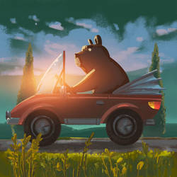 Bearly Driving by angrymikko