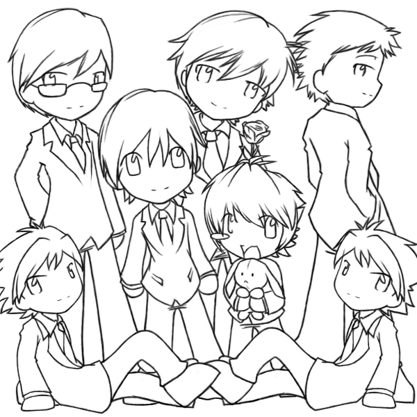 ouran highschool coloring pages - photo#3