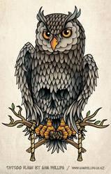 Owl Skull and Crossbones Tatto