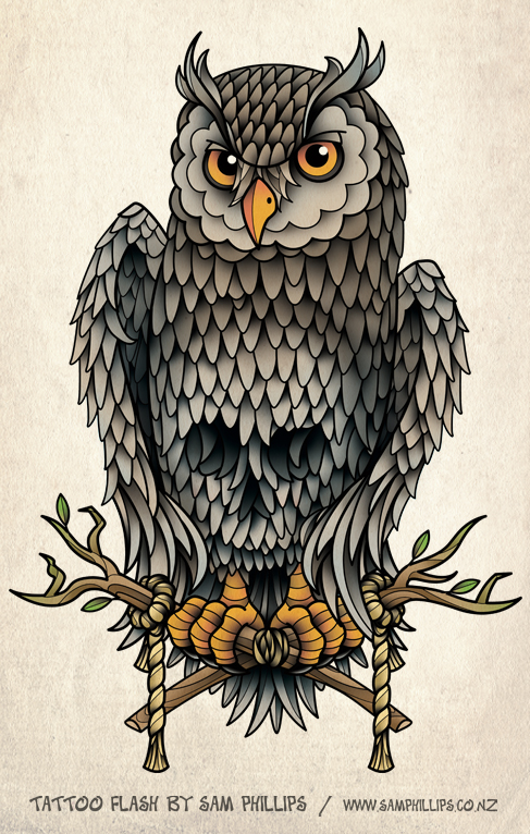 Owl Skull and Crossbones Tatto by Sam-Phillips-NZ