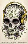 Skull Headphones Tattoo