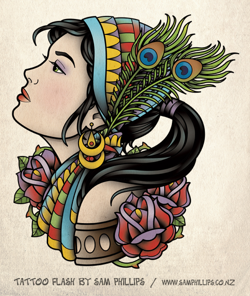 Tattoo Woman Gypsy: Gypsy Tattoo With Ponytail By Sam-Phillips-NZ On DeviantArt