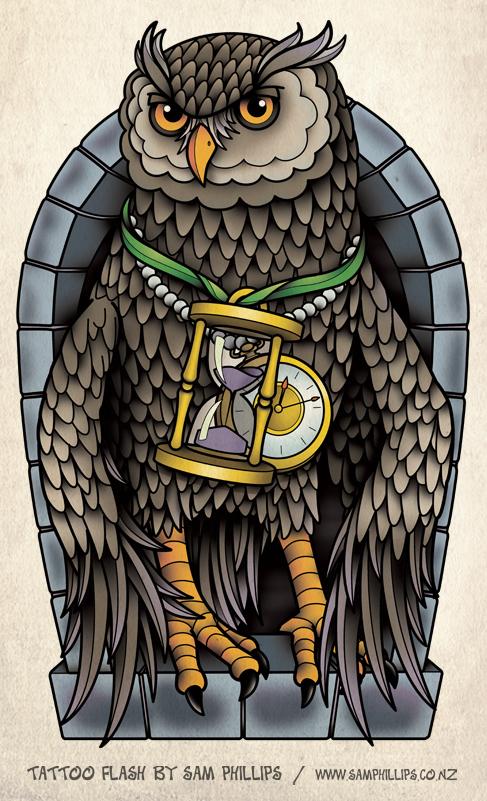 Owl Tattoo Half Sleeve by Sam-Phillips-NZ