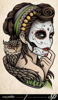 Dia de Muertos Owl Tattoo