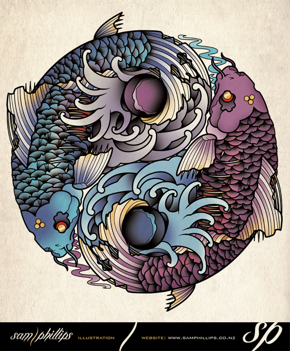 Yin yang tatttoo by sam phillips nz on deviantart for Koi fish yin yang