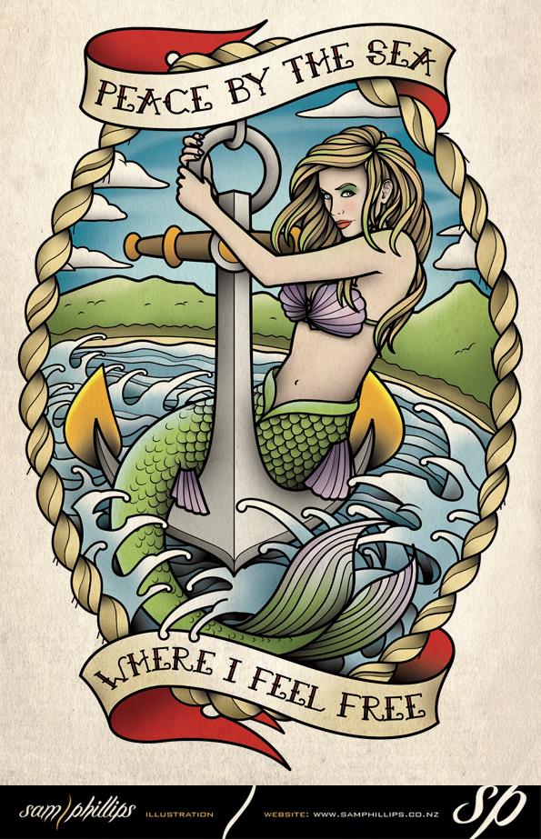 Mermaid Tattoo by Sam-Phillips-NZ