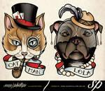 Cat and dog pet tattoo