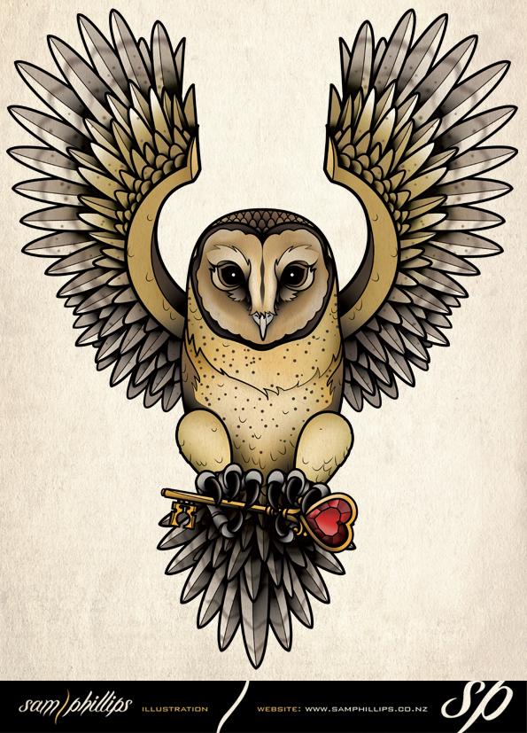 Tasmanian Masked Owl Tattoo by Sam-Phillips-NZ