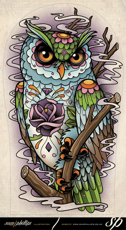 Sugar Owl Tattoo Design Picture 3