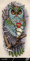 Sugar Skull Owl Half Sleeve Tattoo