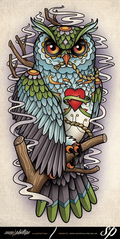 Sugar Skull Owl Half Sleeve Tattoo by Sam-Phillips-NZ