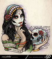 Day Of The Dead Woman Half Sleeve Tattoo by Sam-Phillips-NZ