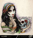 Day Of The Dead Woman Half Sleeve Tattoo
