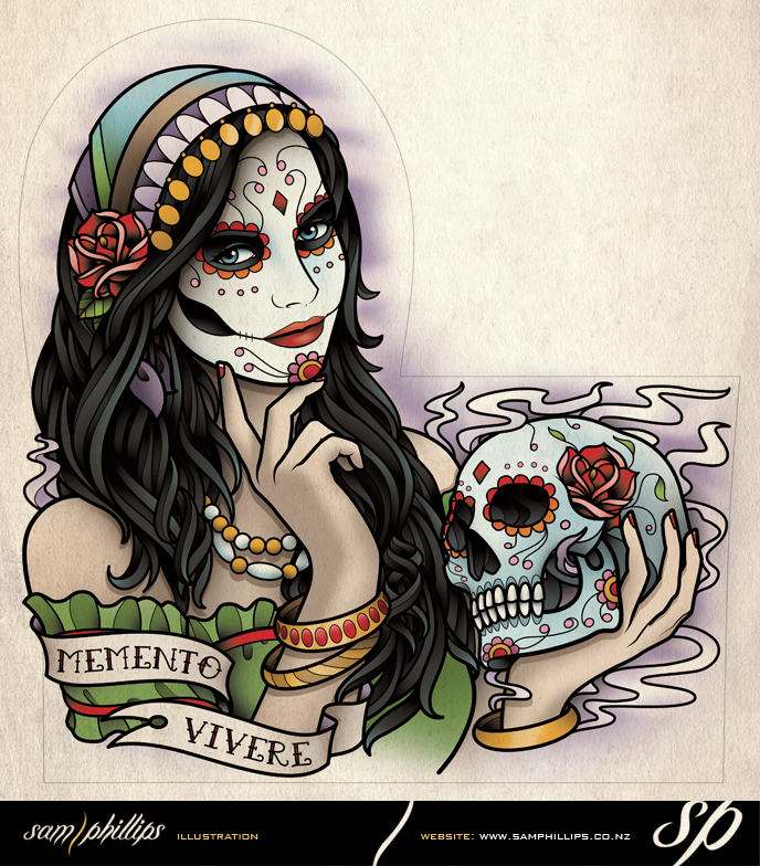 Day of the dead woman half sleeve tattoo by sam phillips nz on deviantart - Tete de mort signification ...