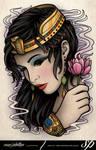 Egyptian Girl Lotus Tattoo Print