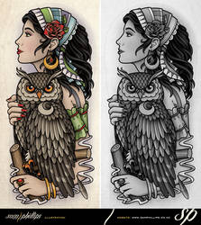 Gypsy Holding Owl Half Sleeve Tattoo