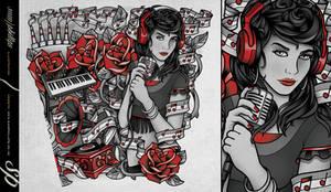 Music Girl Lower Arm Tattoo Sleeve