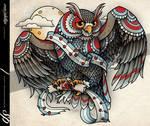 Music Owl Tattoo