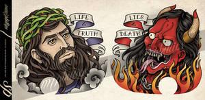 Jesus and devil Chest Tattoo Design