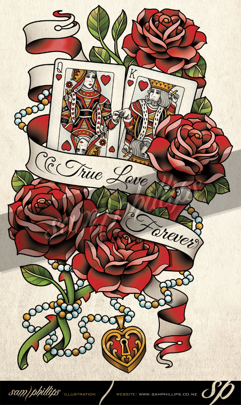 cards king and queen of hearts tattoo by sam phillips nz on deviantart. Black Bedroom Furniture Sets. Home Design Ideas