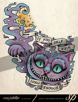 Cheshire Cat Foot Tattoo