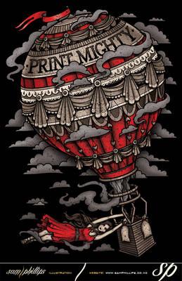 Print Mighty Balloon Ride T-Shirt Design