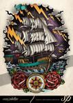 Sailboat on Stormy Seas Tattoo