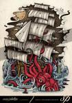 Kraken Vs Ship Tattoo