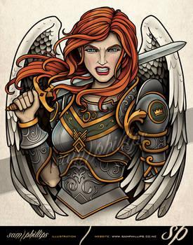 Female Warrior Angel Tattoo