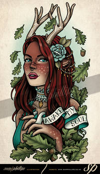 Reindeer Faun Girl Tattoo