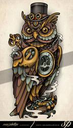 Clockwork Owl Tattoo Steampunk by Sam-Phillips-NZ