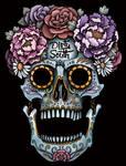 Sugar Skull With Flowers Tattoo