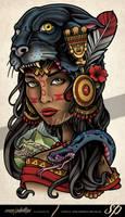 Inca Jaguar Girl Tattoo