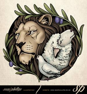 Lion, Lamb and Dove Tattoo