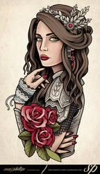 Girl In Armor Tattoo