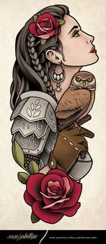 Girl In Armor Tattoo 2