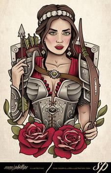 Girl In Armor Tattoo 3