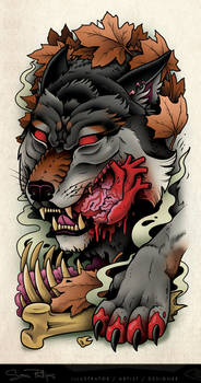 Wolf Eating Heart Tattoo