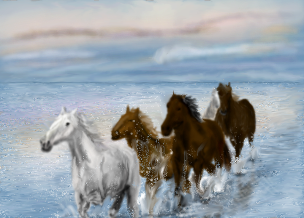 Horses running in water by MacAodhagain on DeviantArt