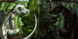 Two opposites young dragons