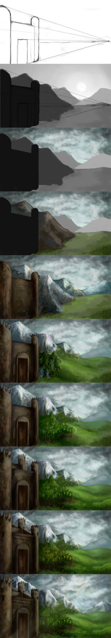 How I draw landscape - step by step by pokePiterr